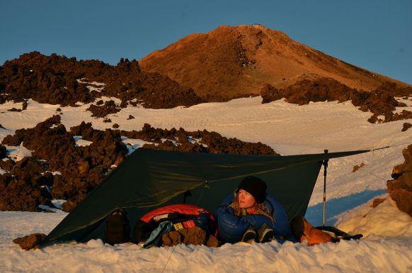 Camp just below the summit