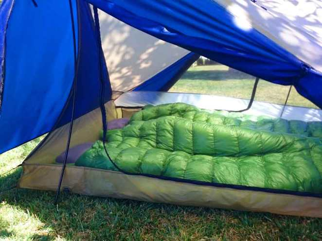 Zpacks sleeping bag in Yama Mountain Gear Swiftline